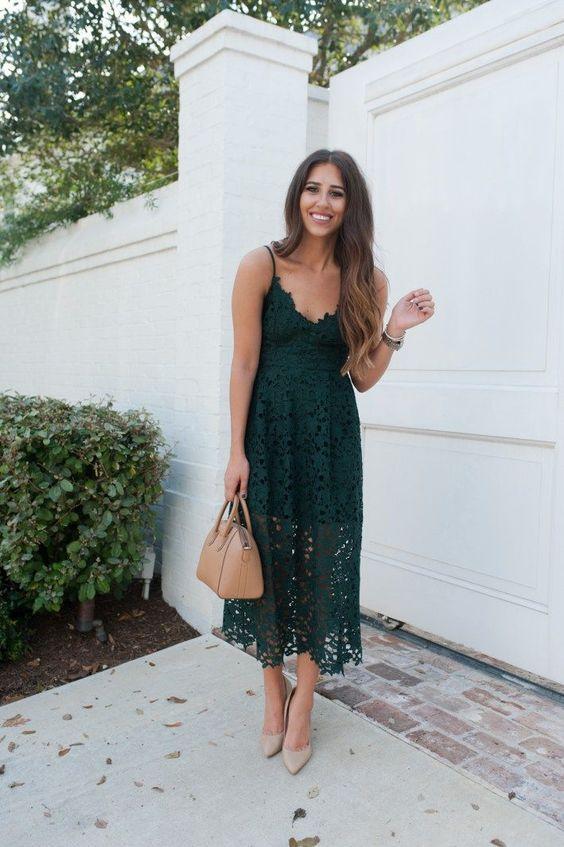dantelli ip askılı elbise modeli