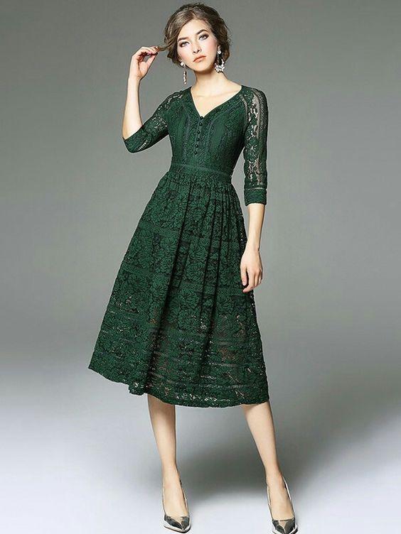 dantelli midi elbise modeli