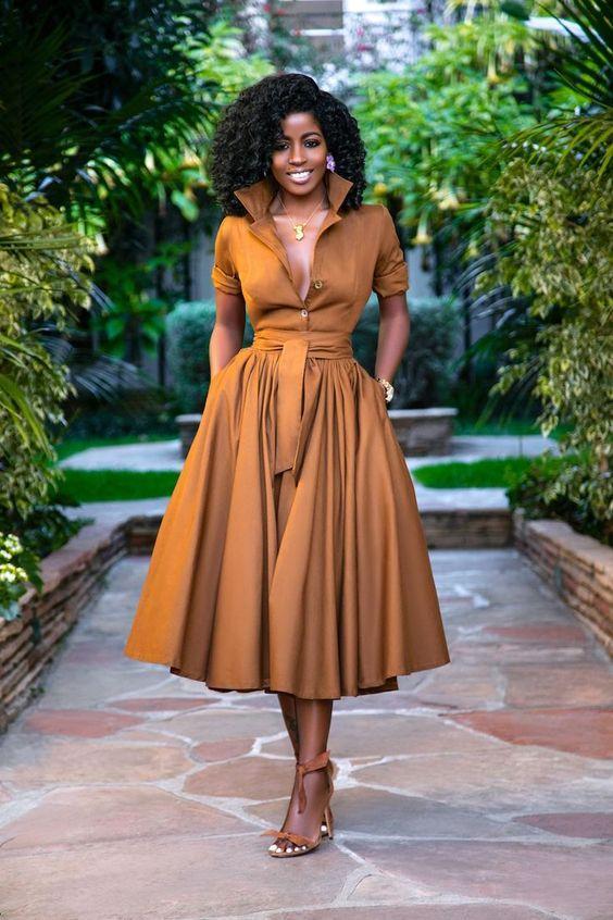 kahverengi midi boy elbise