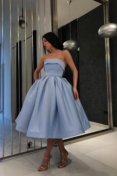mavi midi boy elbise