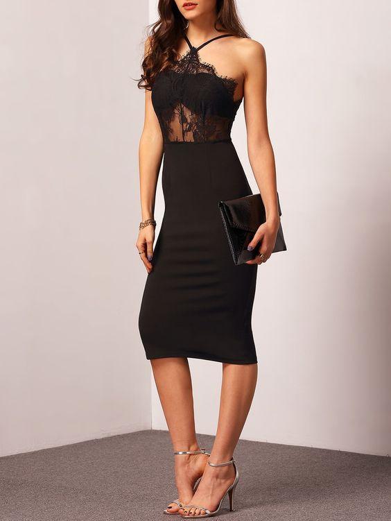 midi boy siyah kalem elbise