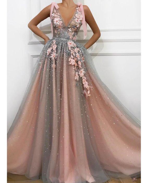 pembe abiye elbise modeli