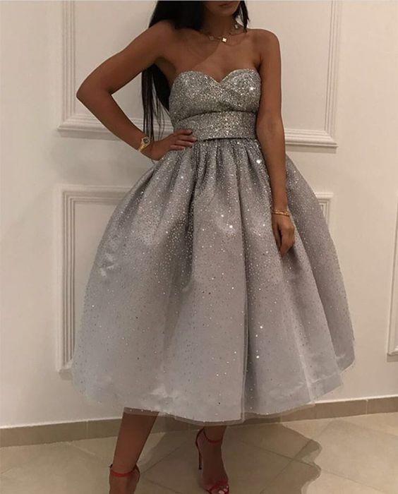 taşlı midi boy elbise