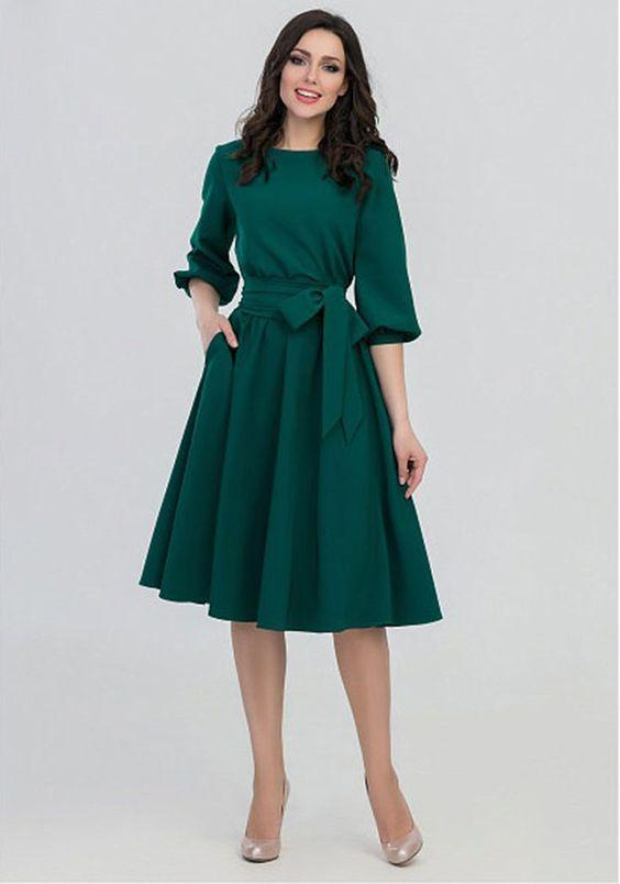 yeşil balon kol midi elbise