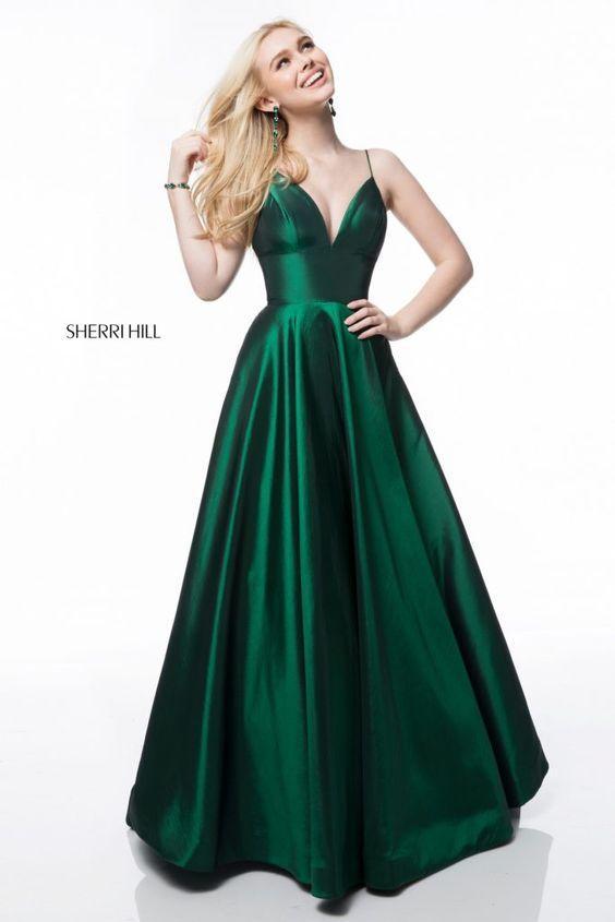 yeşil saten abiye elbise modelleri