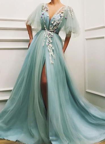 yirtmacli abiye elbise modeli