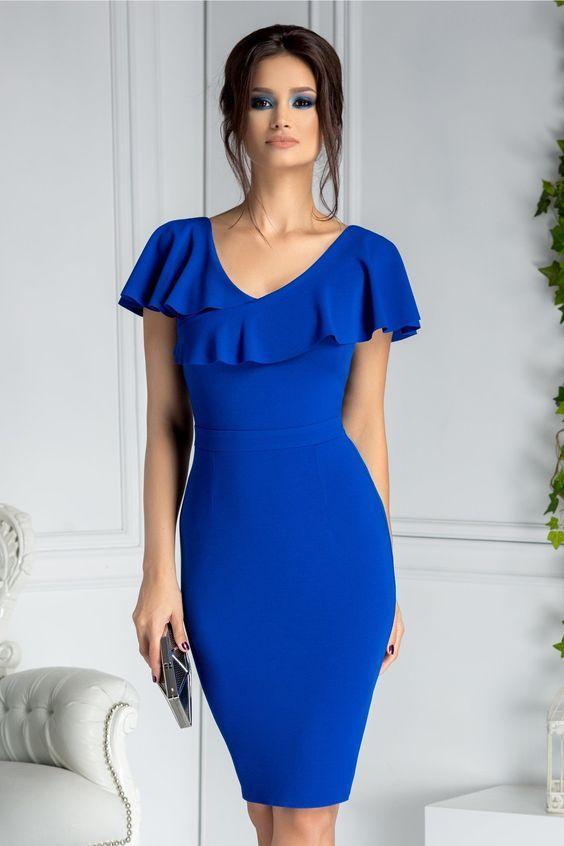 mavi elbise modelleri 2019
