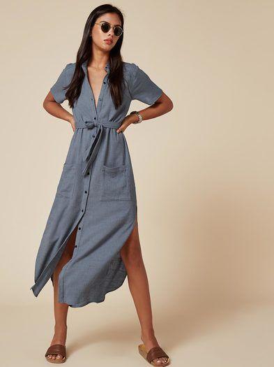mavi gömlek elbise modeli