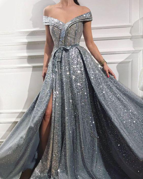 pırıltılı uzun abiye elbise modelleri