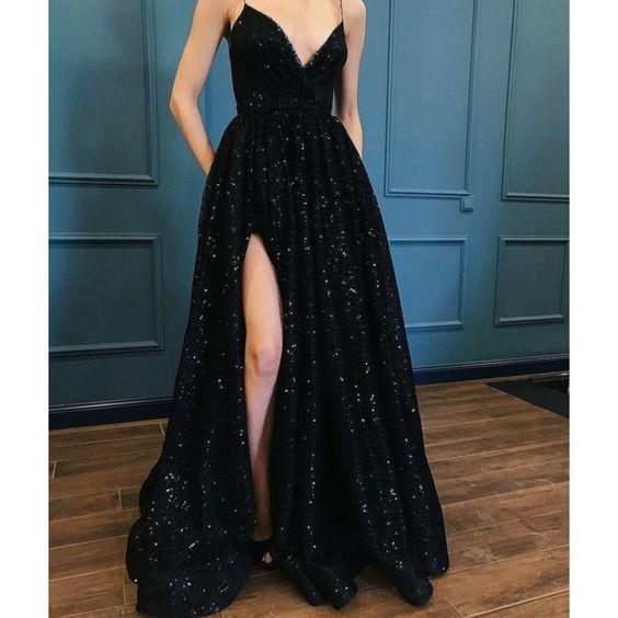siyah yırtmaçlı abiye elbise
