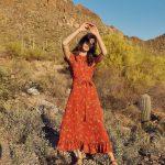 turuncu çiçekli elbise modeli