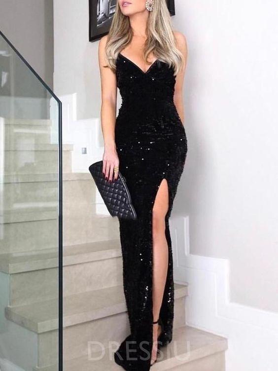 uzun siyah taşlı abiye elbise