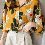 çiçekli vintage gömlek modeli