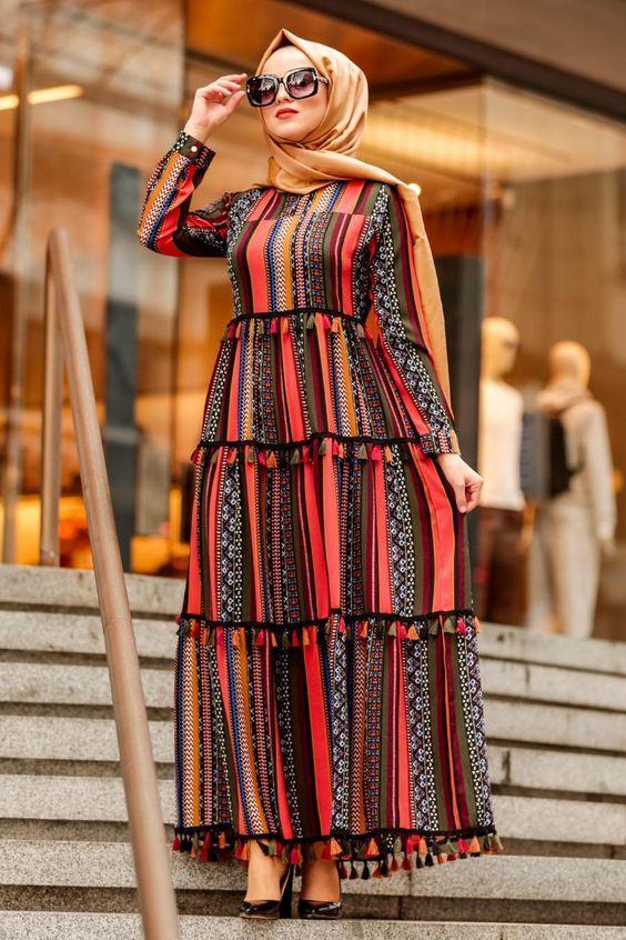 etnik desenli elbise modeli