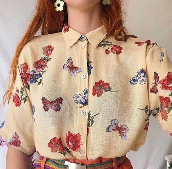 kelebekli vintage gömlek modeli