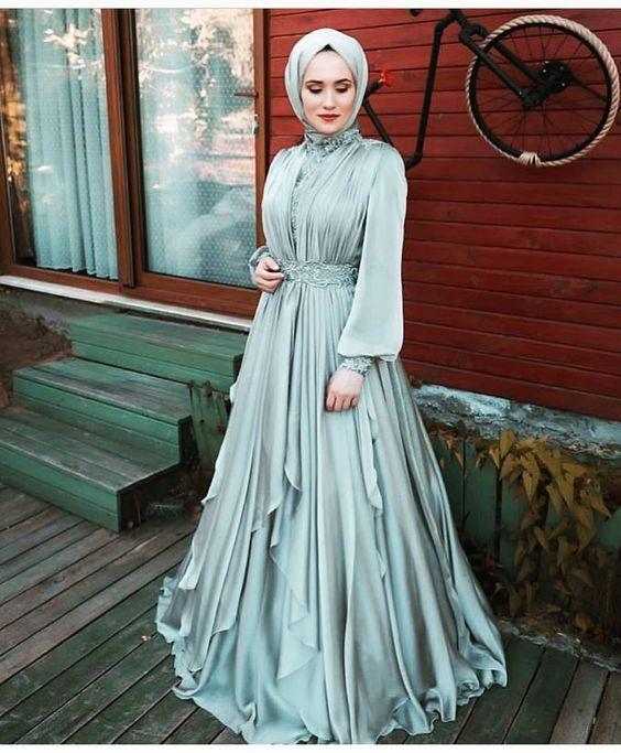 mavi tesettür elbise modeli 2019