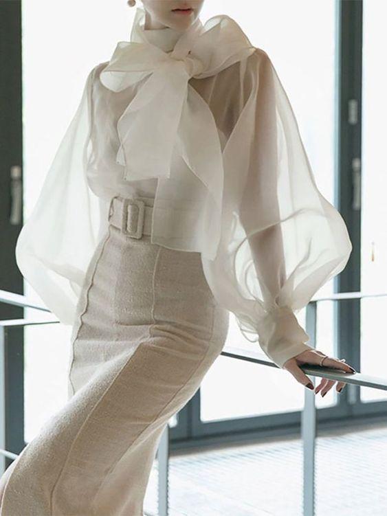 ofis için şık transparan bluz modelleri