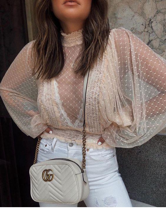 salaş transparan bluz