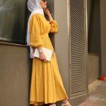 tesettür sarı elbise modeli
