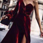 şık kadife elbise modeli