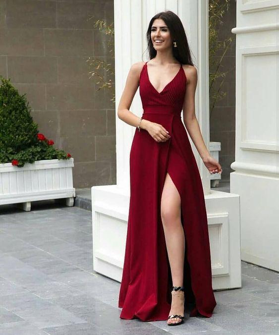 dekolteli abiye elbise modeli