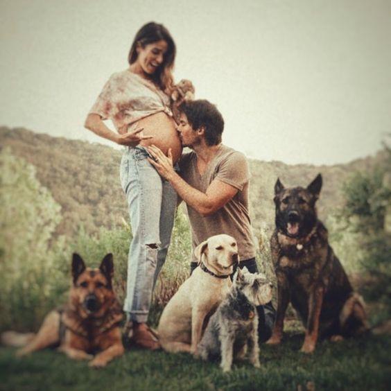 hayvanlarla hamile fotoğrafı çekimi