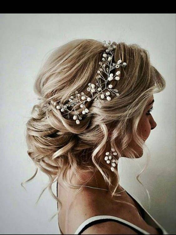 incili taşlı gelin saçı modeli