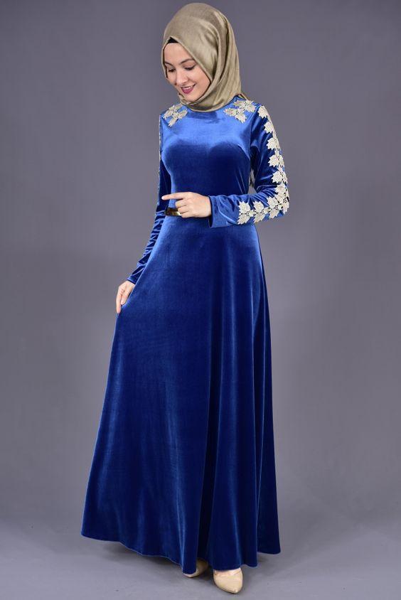 mavi tesettür elbise modeli