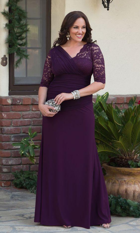 mor büyük beden abiye elbise modeli