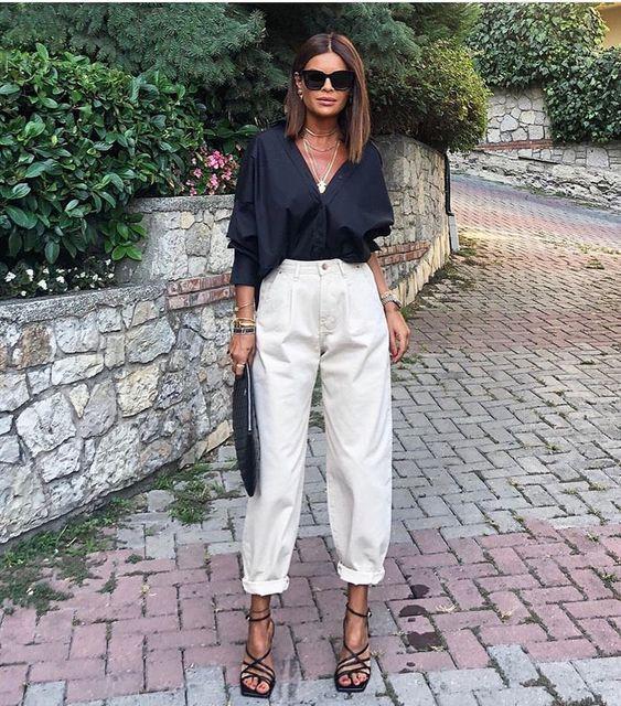 slouchy beyaz pantolon kombini