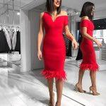 tüylü kırmızı elbise modeli