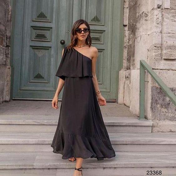tek omuzlu günlük elbise