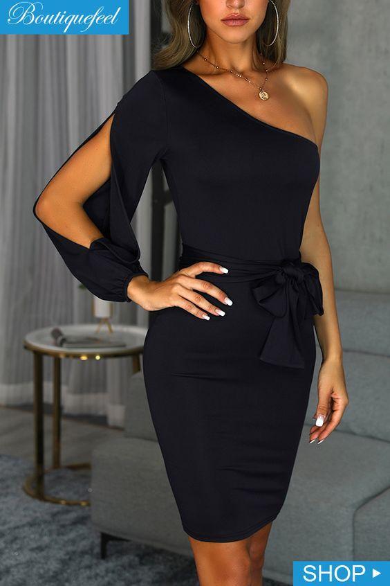 tek omuzlu siyah elbise