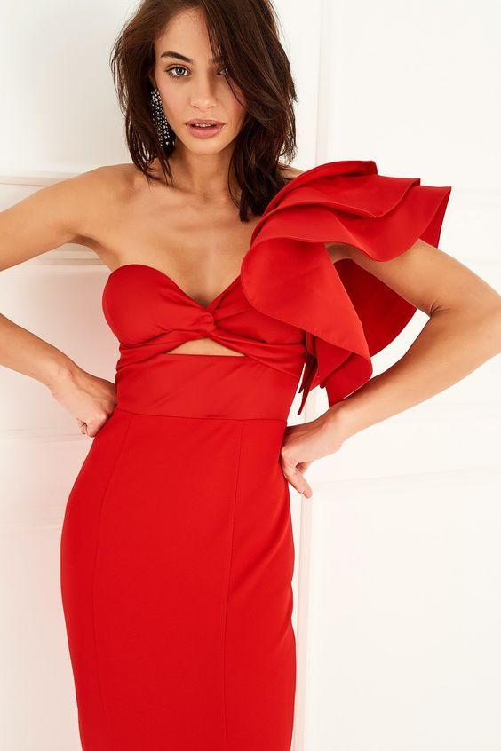 volanlı elbise modeli