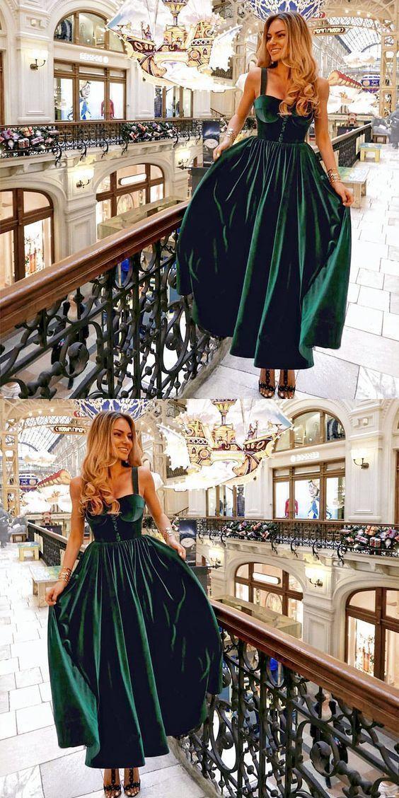 yeşil kadife elbise modeli