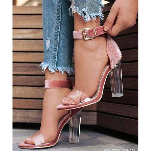 şeffaf topuk renkli ayakkabı modelleri