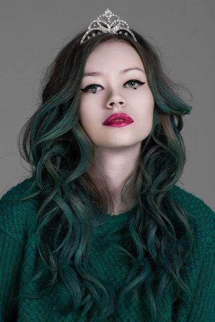 dipleri doğal yeşil ombre saç
