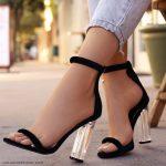 siyah şeffaf topuk ayakkabı