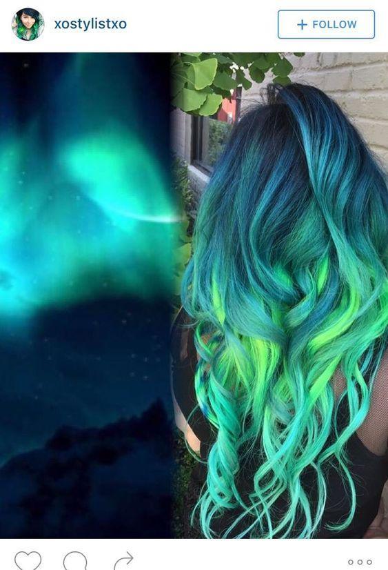 yeşil ombre saç modelleri