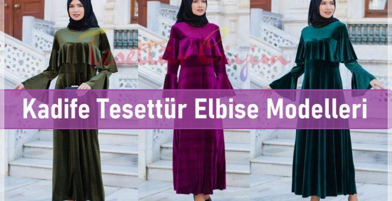 Kadife Tesettür Elbise Modelleri