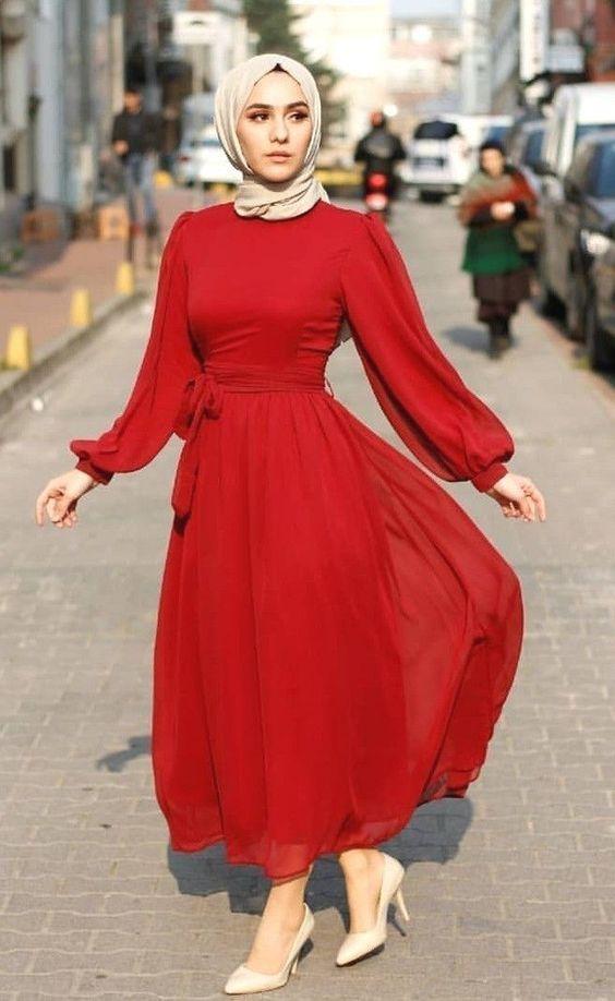 şık tesettür kırmızı elbise