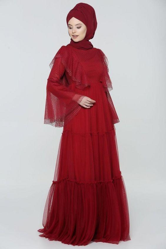 puantiye tüllü abiye elbise