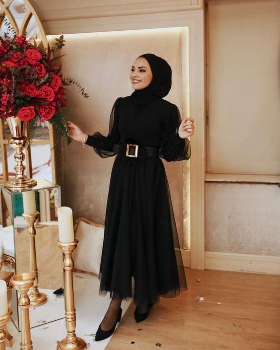 siyah tül elbise modeli