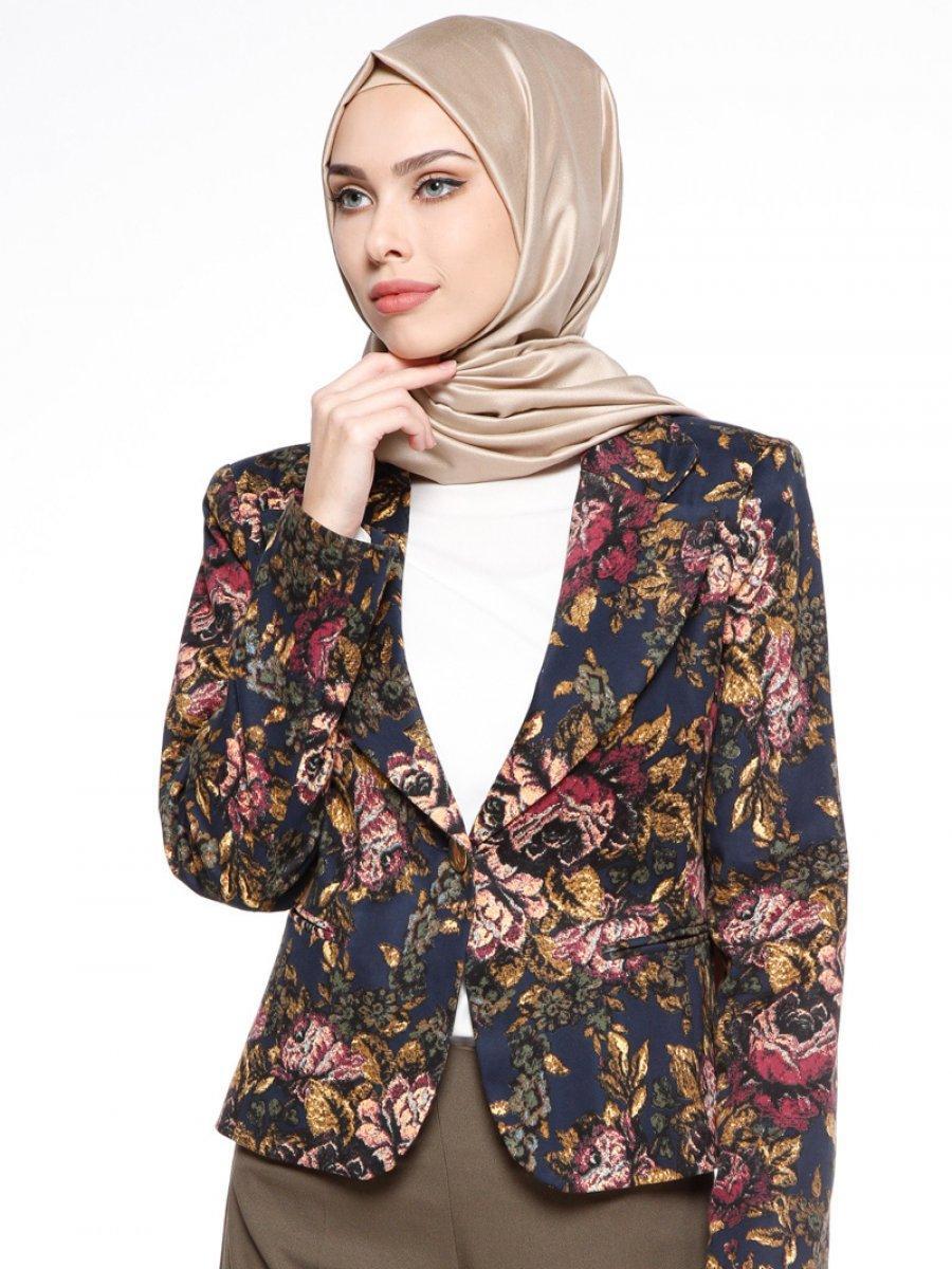 çiçekli tesettür ceket