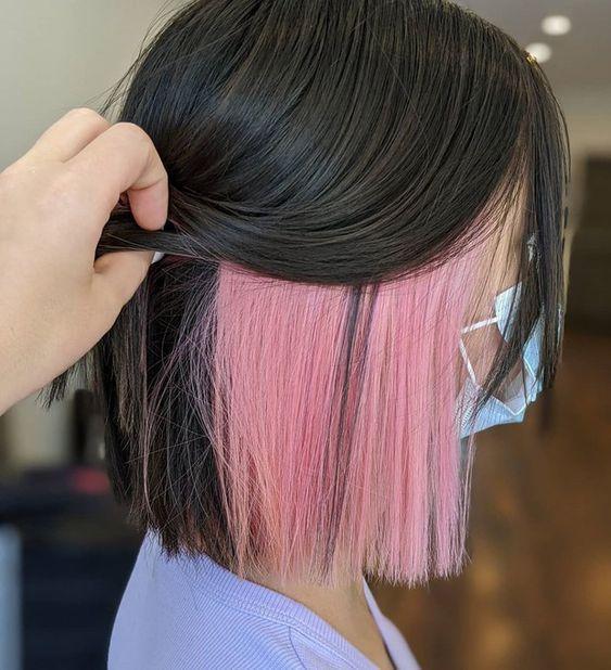 pembe saç modelleri