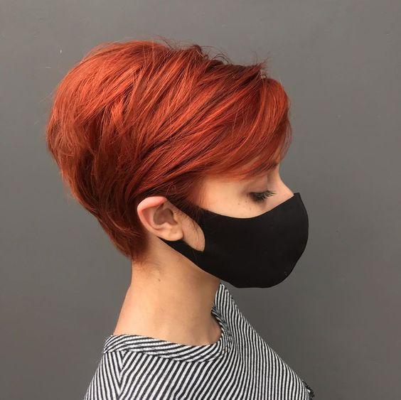 kızıl pixie modeli saç kesimi