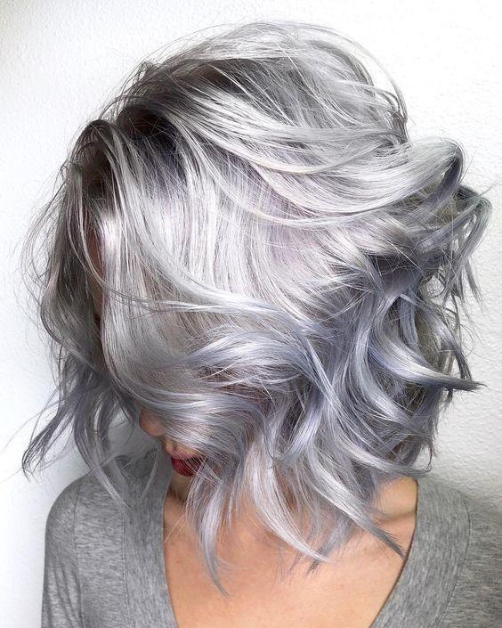 gri ışıltılı saç modelleri