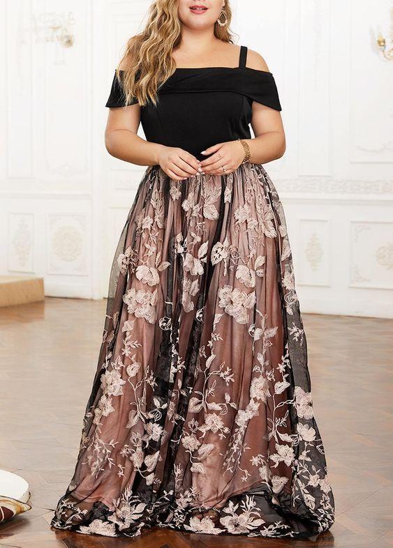 uzun büyük beden abiye elbise