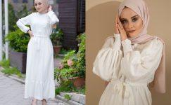 Beyaz Tesettür Elbise Modelleri 2021
