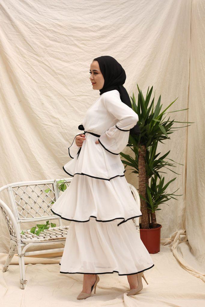 Beyaz tesettür elbise